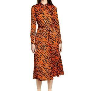 Karen Millen Orange Tiger Print Shirt Dress Sz 2
